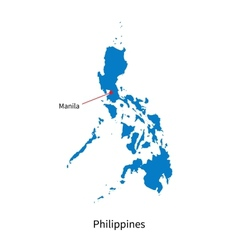 Detailed map of philippines and capital city vector