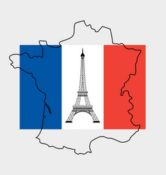 Eiffel tower and flag of france vector