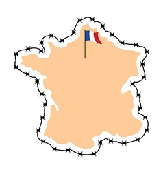 France Map Map of states with barbed wire Country vector image
