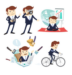 Funny business man wearing suit doing yoga vector