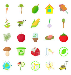 garden icons set cartoon style vector image vector image