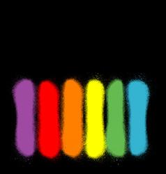 Graffiti sprayed lines in six rainbow colors vector