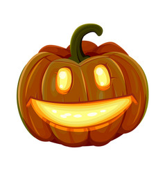 halloween pumpkin is smiling isolated on white vector image vector image