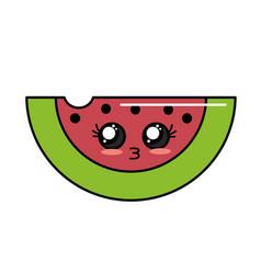 Kawaii cute tender slice watermelon fruit vector