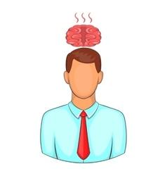 Man overheated brain icon cartoon style vector
