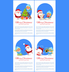 Merry christmas banner santa claus and snow maiden vector