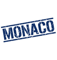 Monaco blue square stamp vector