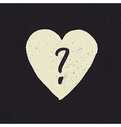 Question in heart shape grunge vector