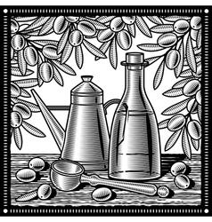 Retro olive oil still life black and white vector image