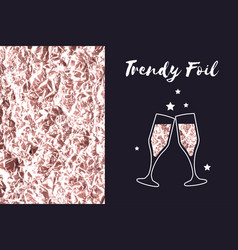 rose gold foil texture icon glasses of champagne vector image vector image