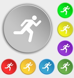 running man icon sign Symbol on five flat buttons vector image