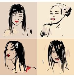 Set of sketch Beautiful girls vector image