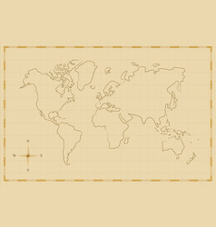 Vintage world map old hand drawn art vector