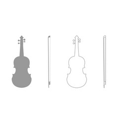 violin grey set icon vector image