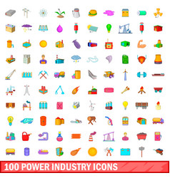 100 power industry icons set cartoon style vector