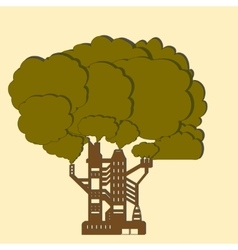Factory tree paper vector