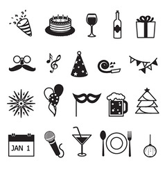 New year party and celebration items vector