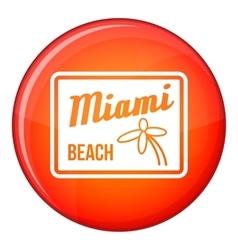 Miami beach icon flat style vector