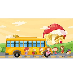 Students playing near the school bus vector image