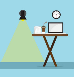 Office desk with laptop calendar and coffee cup vector