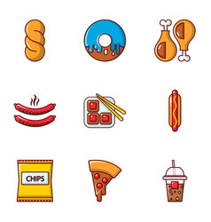 different fast food icons set flat style vector image