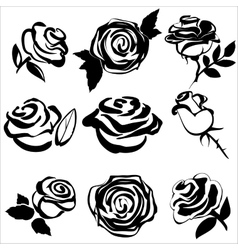 Black silhouette of rose set symbols vector