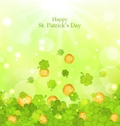 Light background with clovers and coins for st vector