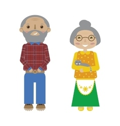 Flat cartoon grandparents senior pair vector