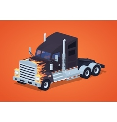 Black heavy american truck with the fire pattern vector