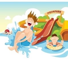 The cheerful boy rides on water hills vector