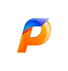 P letter blue and orange logo design fast speed vector