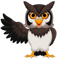 Cute owl cartoon posing vector image