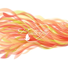 Abstract colorful waves with butterfly vector image vector image