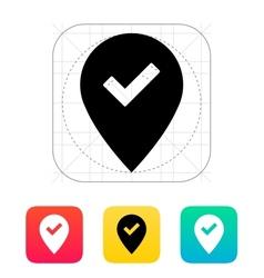 Accept map pin icon vector