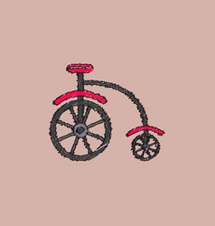 Antique highwheel bike 1885 in hatching style vector
