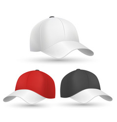 Baseball cap black white and red templates vector