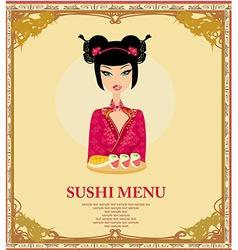beautiful Asian girl enjoy sushi - menu template vector image vector image