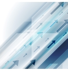Bright blue hi-tech background with arrows vector