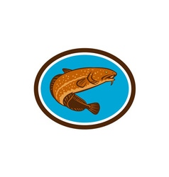 Burbot fish oval retro vector