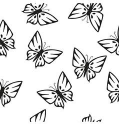 Butterflies silhouettes seamless texture vector