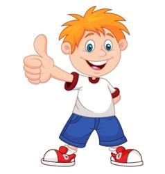 Cartoon boy giving you thumbs up vector image vector image