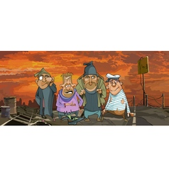 Cartoon funny homeless men in ragged clothes vector