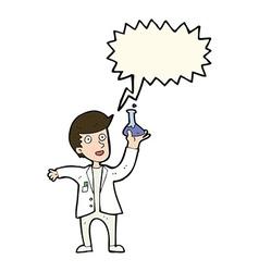 Cartoon happy scientist with speech bubble vector