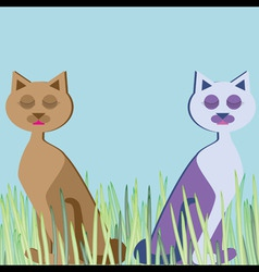 Cats sitting in the grass sleeping vector