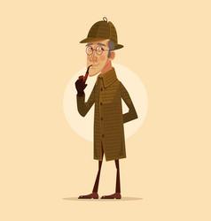 detective man character smoking pipe vector image vector image