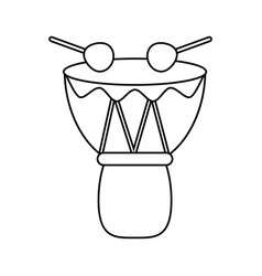 Drum djembe percussion african thin line vector