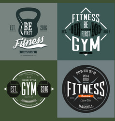 dumbbell and barbell poise and rod sport signs vector image vector image