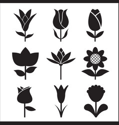 Flower icon side view set vector