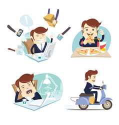 Funny business man wearing suit eating pizza vector
