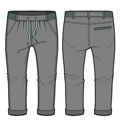 Grey joggers with elasticized ribbing vector